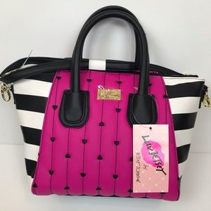 Betsey Johnson hot pink heart quilt handbag